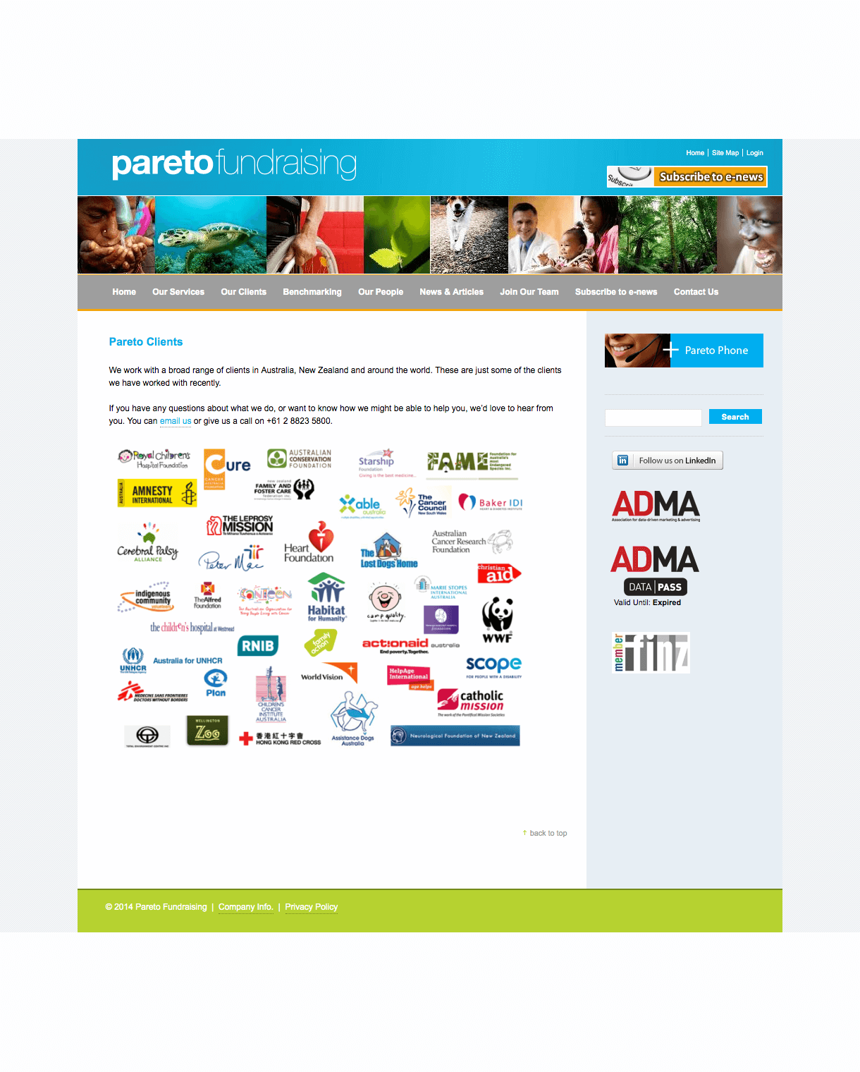 Pareto Fundraising website - retired